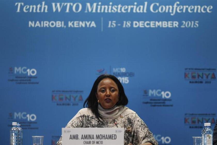 La presidenta de la reunión ministerial de la Organización Mundial del Comercio (OMC), Amina Mohammed, da una rueda de prensa en el ámbito de la reunión ministerial de la OMC en Nairobi (Kenia), EL 15 de diciembre de 2015. EFE/Archivo