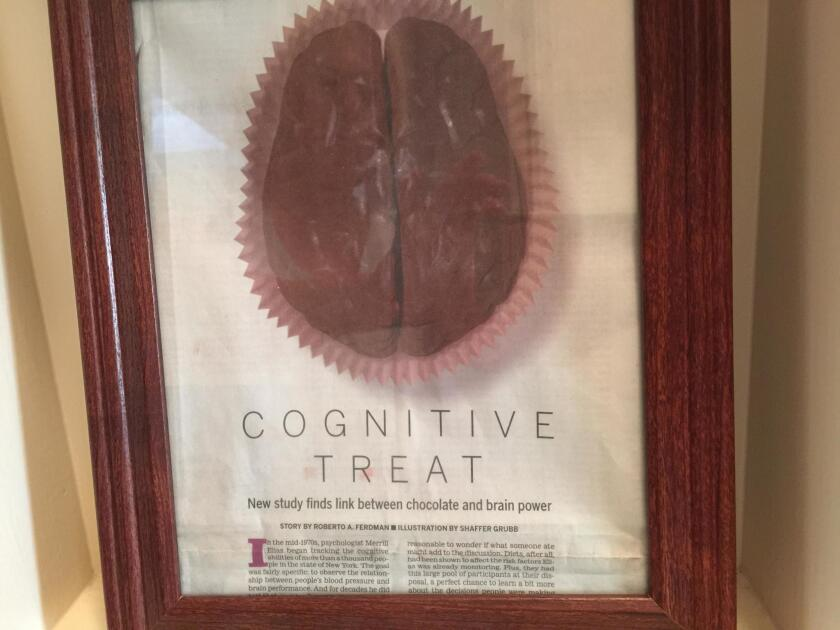 Here's a photo of my framed copy of the article extolling the cognitive benefits of chocolate.
