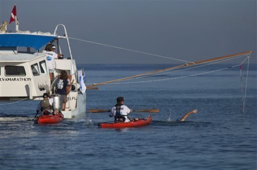 U.S. swimmer Diana Nyad, 64, right, begins her swim to Florida from the waters off Havana, Cuba, Saturday, Aug. 31, 2013. Endurance athlete Nyad launched another bid Saturday to set an open-water record by swimming from Havana to the Florida Keys without a protective shark cage. (AP Photo/Ramon Esp