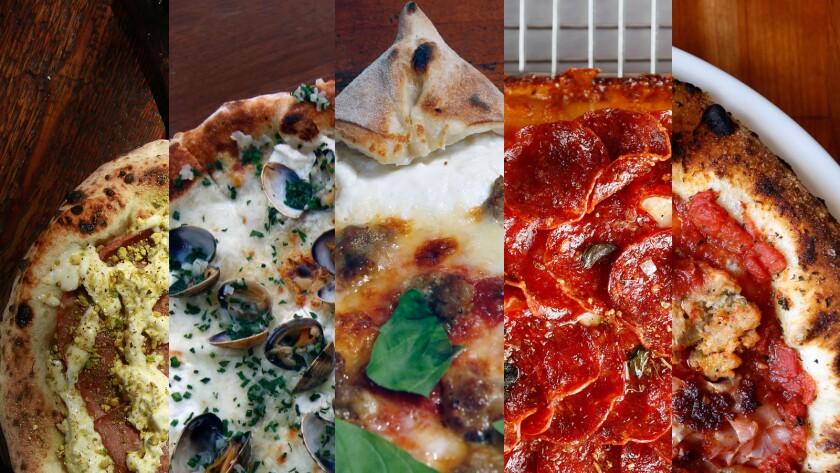 Five Los Angeles pizzas.
