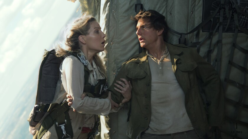 "Annabelle Wallis and Tom Cruise in the movie ""The Mummy."""