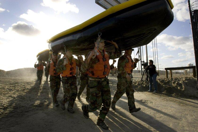SEAL candidates undergo beach training at Coronado Naval Amphibious Base.
