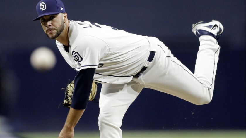 San Diego Padres starting pitcher Joey Lucchesi works against a San Francisco Giants batter during the second inning of a baseball game Tuesday, Sept. 18, 2018, in San Diego.