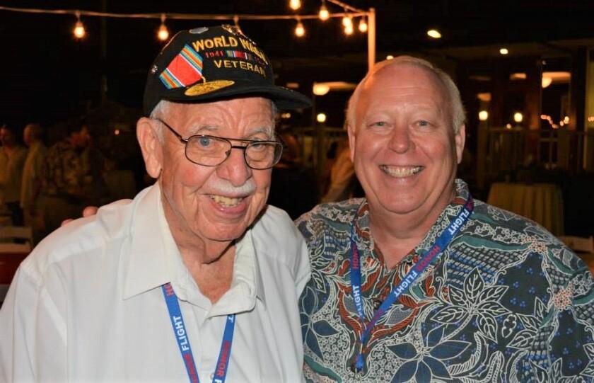 David Smith, right, took his dad, World War II vet Art Smith, on an Honor Flight to Washington, D.C. in 2010.