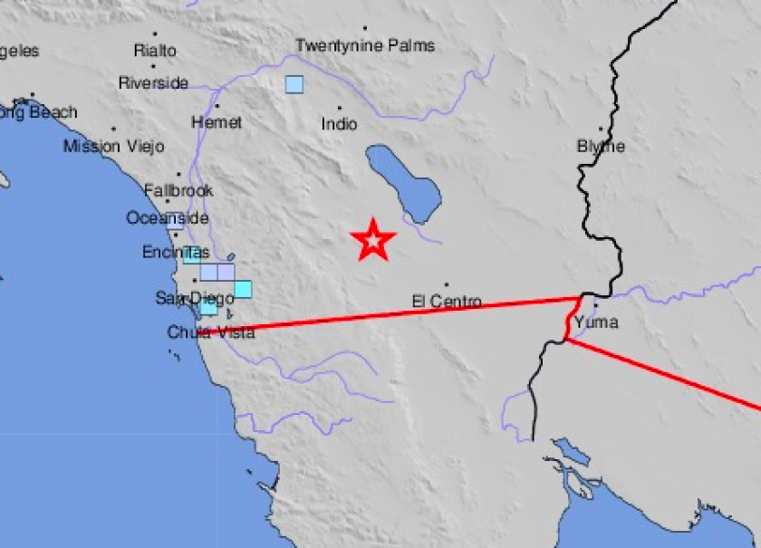A magnitude 4.5 quake occurred near Ocotillo Wells at 3:07 p.m. on Friday.
