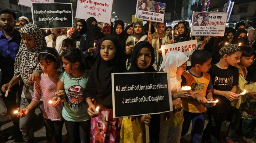 People protest for Rape victim in India, Mumbai - 16 Apr 2018