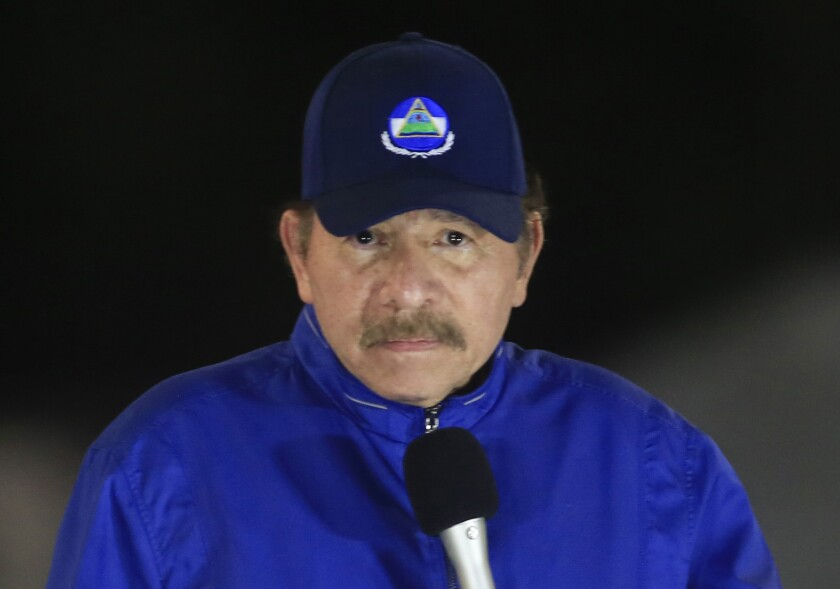 """FILE - In this March 21, 2019 file photo, Nicaragua's President Daniel Ortega speaks during the inauguration ceremony of a highway overpass in Managua, Nicaragua. The U.S. State Department said Thursday, Oct. 14, 2021, that next month's presidential elections in Nicaragua """"have lost all credibility"""" because of President Ortega's arrests of critics and seven potential challengers. (AP Photo/Alfredo Zuniga, File)"""