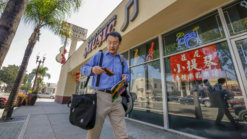 Located on E. Garvey Avenue in the Monterey Park business district, Johnny Thompson Music sits at the epicenter of an ongoing wave of Asian immigration that has changed the San Gabriel Valley.
