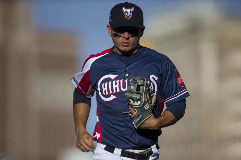 Padres prospect Luis Urias started the 2018 season at Triple-A El Paso with the Chihuahuas.