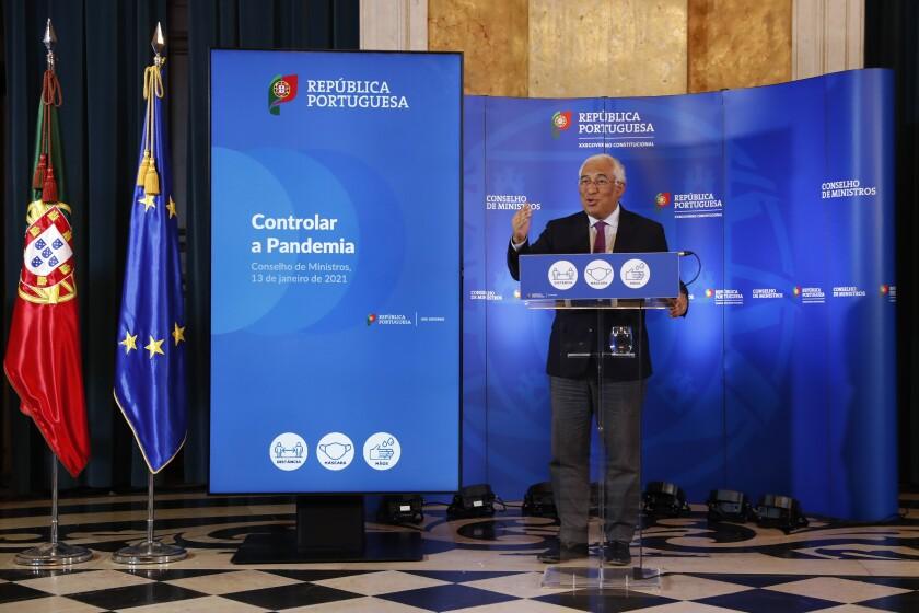 El primer ministro de Portugal, Antonio Costa, da un discurso a la nación el miércoles 13 de enero