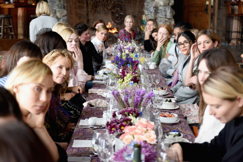 A view of the table, with a formidable show of powerful women.