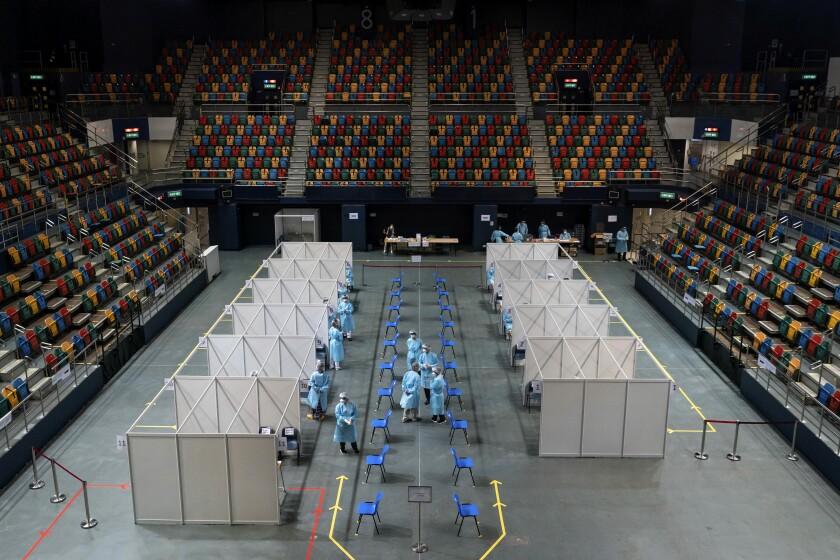 Coronavirus testing site at Queen Elizabeth Stadium in Hong Kong