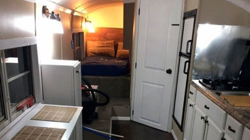 Minor leaguer Jack Labosky and girlfriend Madi Hiatt renovated a school bus to live out of during Labosky's first full professional season.
