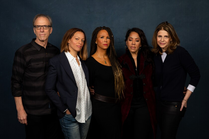 """Director Kirby Dick, subjects Drew Dixon, Sil Lai Abrams and Sherri Hines, and director Amy Ziering of """"On the Record,"""" photographed in the L.A. Times Studio at the Sundance Film Festival."""