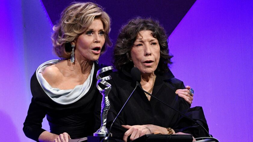 Presenters Jane Fonda, left, and Lily Tomlin at the 19th Costume Designers Guild Awards.