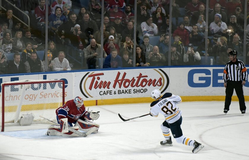 Buffalo Sabres' Marcus Foligno (82) scores on a penalty shot over the glove of Montreal Canadiens' Mike Condon (39) during the second period of an NHL hockey game, Friday, Feb. 12, 2016, in Buffalo, N.Y. (AP Photo/Gary Wiepert)