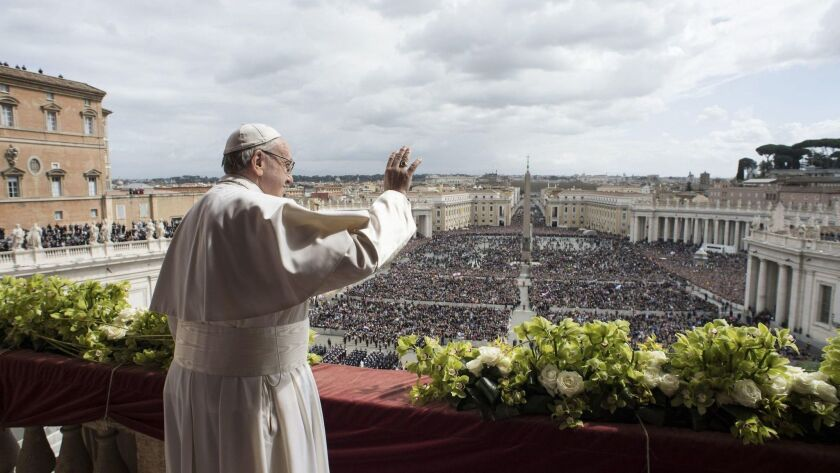 Pope Francis celebrates Easter Mass in Vatican City.