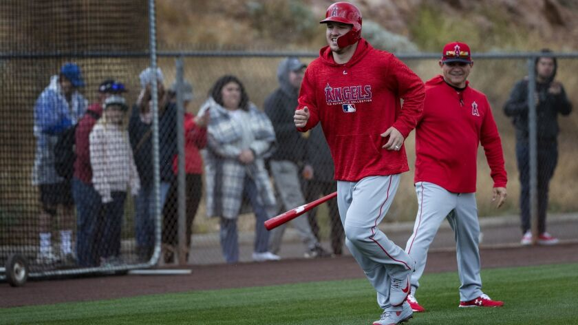 TEMPE, AZ - FEBRUARY 18, 2019: Angels outfielder Mike Trout participates in base running drills duri