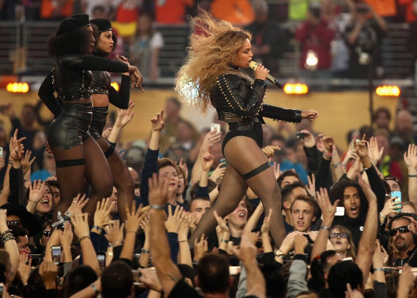 Beyoncé performing during the Super Bowl halftime show on Sunday.