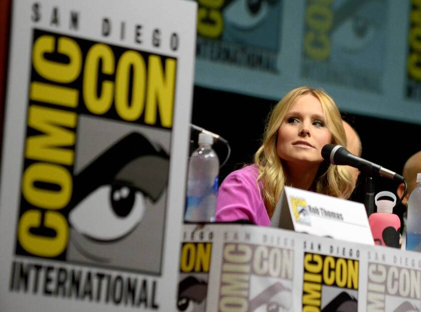 """Kristen Bell participates in the """"Veronica Mars"""" panel at Comic-Con International in San Diego."""
