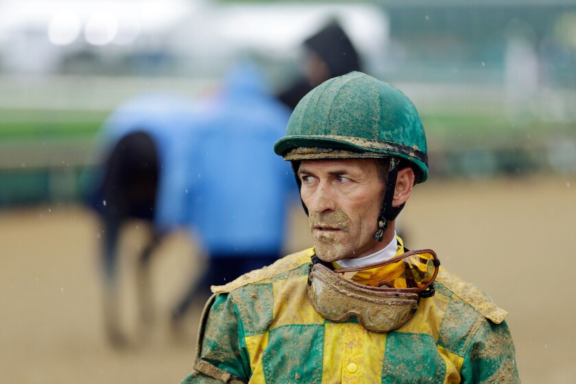 Jockey Gary Stevens after a race prior to the 2013 Kentucky Derby.