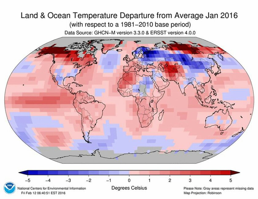 This image provided by The National Oceanic and Atmospheric Administration (NOAA) shows a map worldwide temperatures for the month of January, 2016. Earth's string of hottest months on record extends to nine straight with last month notching the hottest January. But NASA said January was even more
