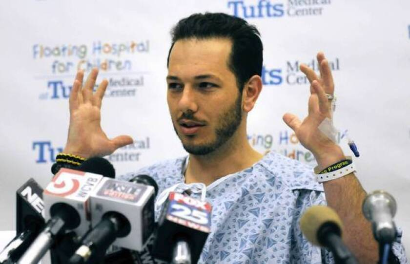 Nicholas Yanni describes the Boston Marathon blast that left him without hearing for a time and nearly cost his wife, Lee Ann, one of her legs. Now both are home intent on full recovery and hoping to see justice done in the case.