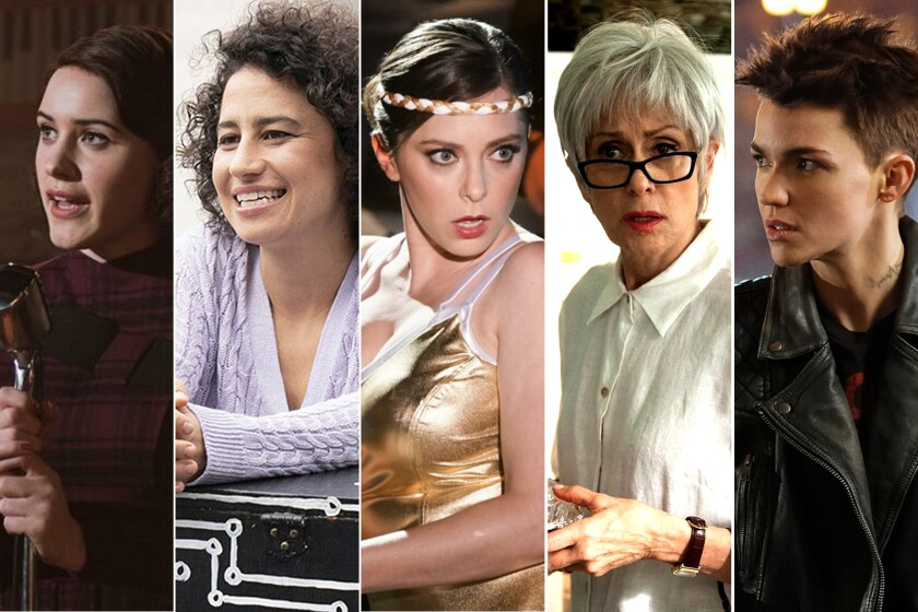 """Rachel Brosnahan in """"The Marvelous Mrs. Maisel""""; Ilana Glazer in """"Broad City""""; Rachel Bloom in """"Crazy Ex-Girlfriend""""; Judith Light in """"Transparent""""; and Ruby Rose in """"Batwoman."""""""