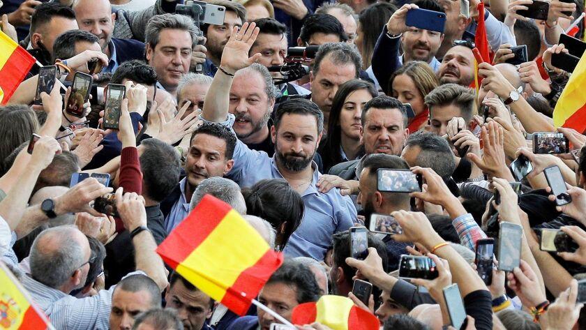 Spanish far-right party Vox's election campaign, Valencia, Spain - 26 Apr 2019
