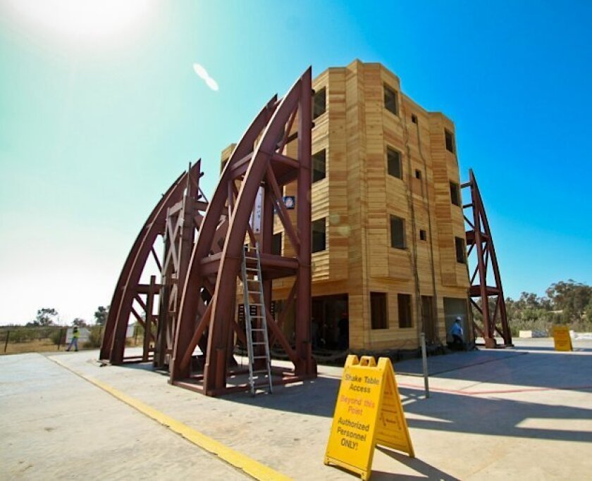 """Colorado State engineers, with help from other schools, built a wood-frame """"soft story) structure at UC San Diego's Englekirk Structural Engineering Center."""