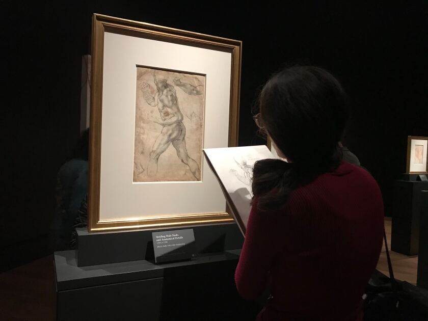 Lala Ragimov of San Pedro sketches a figure by Michelangelo at the Getty Center