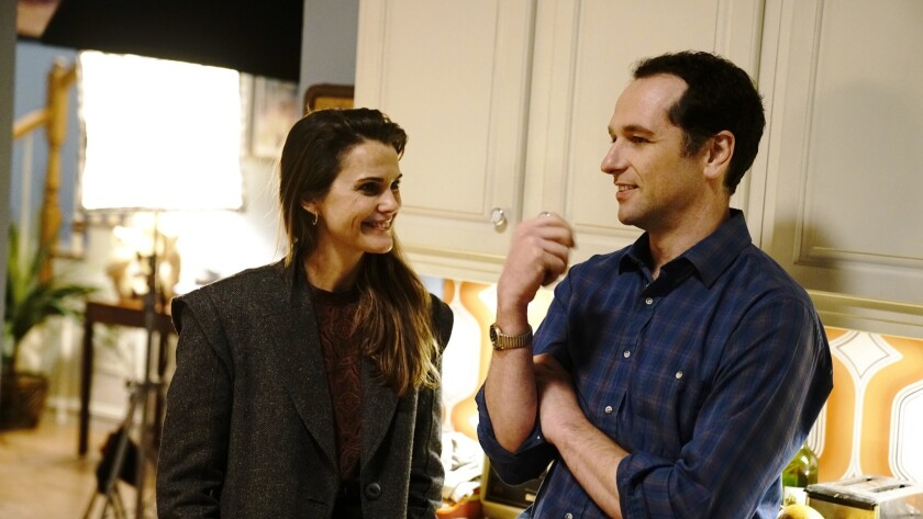 "Keri Russell and Matthew Rhys on the set of the final season of ""The Americans"""