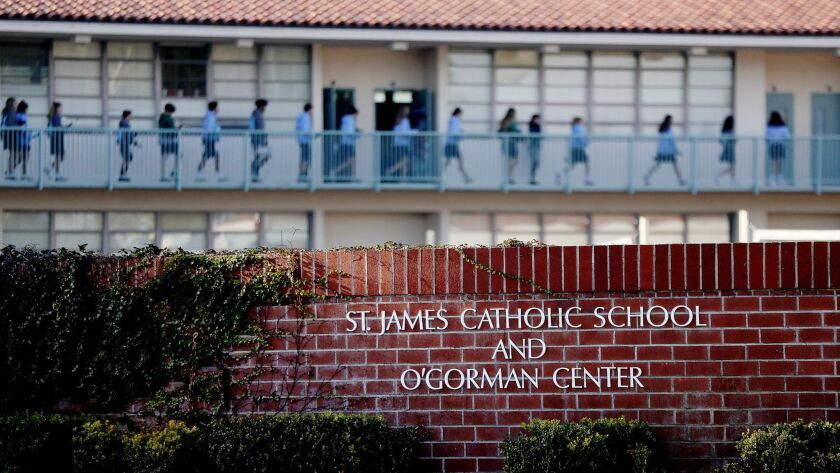 Exterior of St. James Catholic School in Torrance. Two nuns allegedly embezzled at least $500,000 from the school and were known to frequent casinos, according to an attorney for the Archdiocese of Los Angeles.