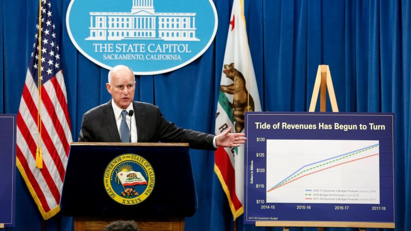 Gov. Jerry Brown releases his proposed budget for 2017-18 at the state Capitol in Sacramento on Jan. 10.