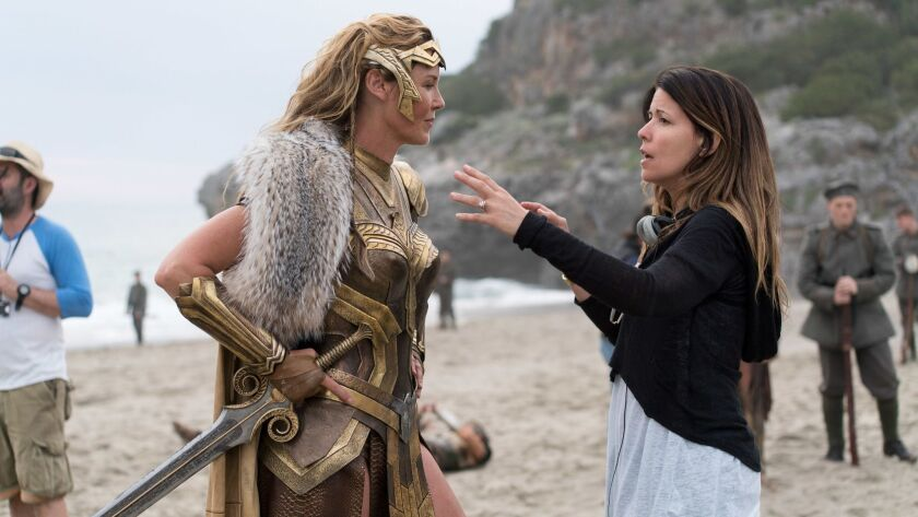 """Connie Nielsen, left, as Queen Hippolyta and director Patty Jenkins on the set of the film """"Wonder Woman."""""""