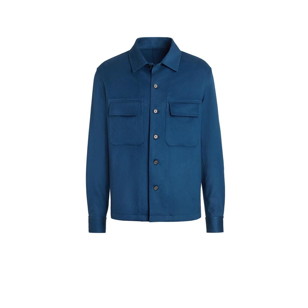 Ermenegildo Zegna pure cashmere overshirt in teal, $2,195, zegna.com