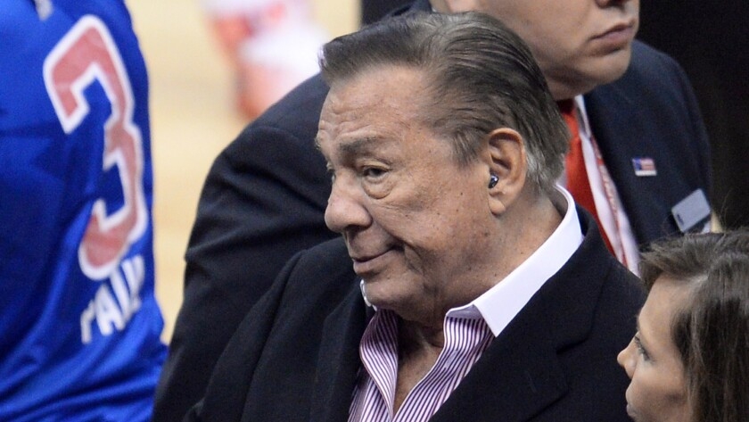 Clippers owner Donald Sterling attends a playoff game between the Clippers and Golden State Warriors on April 21. The Lakers have issued a statement condemning racist statements allegedly made by Sterling.