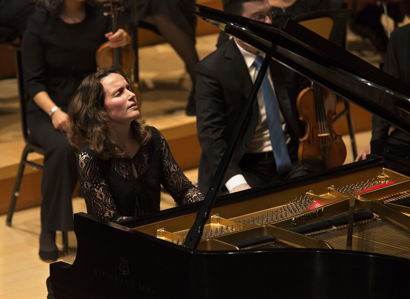 LOS ANGELES, CA-FEBRUARY 24, 2017: Pianist Helene Grimaud performs a Brahms concerto, accompanied b