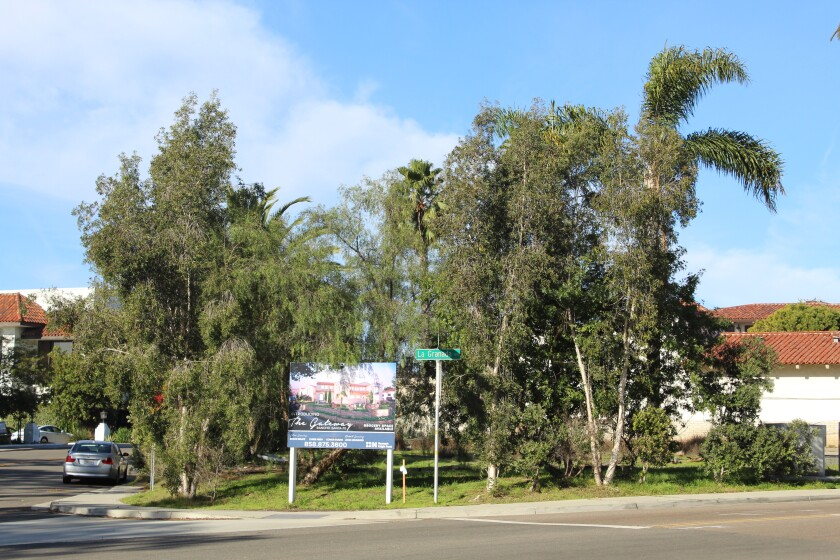 The site of the Rancho Santa Fe Gateway project at the entrance to the village where the gas station is now.