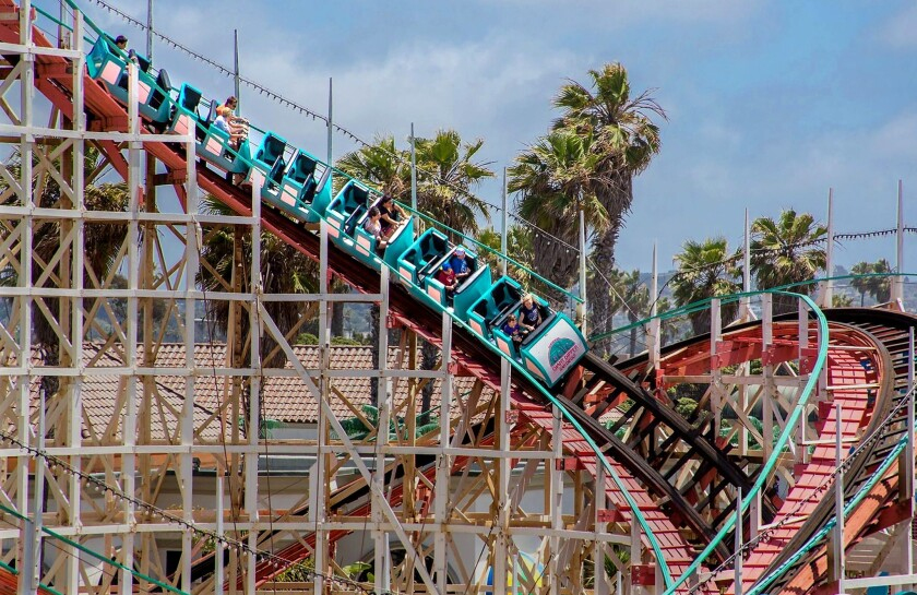Belmont Park on Mission Beach features the Giant Dipper wooden roller coaster.