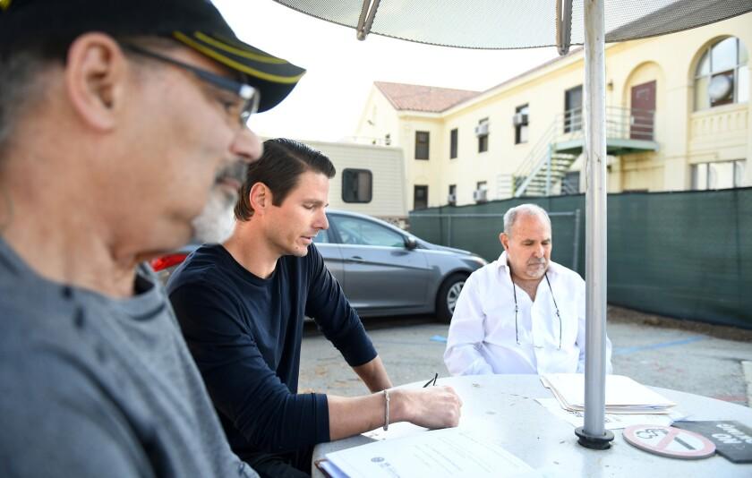 LOS ANGELES, CALIFORNIA NOVEMBER 27 17, 2018-War veterans from left, Steven Goldstein, White Dove Si