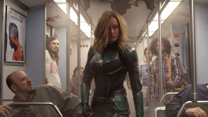 """This image released by Disney-Marvel Studios shows Brie Larson in a scene from """"Captain Marvel."""" (Di"""