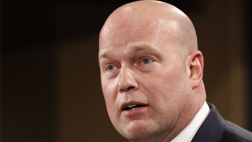 Acting Attorney General Matthew Whitaker at the Justice Department.