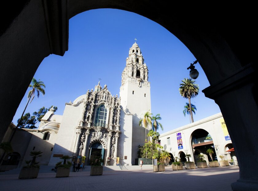 Looking up at the California Tower in Balboa Park. The building was constructed in 1915 as part of the Panama-California Exposition.