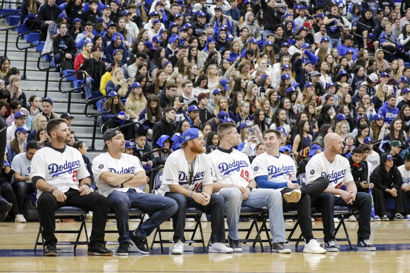 Dodgers players attend a pep rally at Saugus High School in Santa Clarita on Friday.