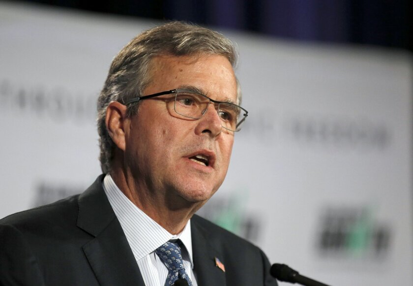 Former Florida Gov. Jeb Bush speaks at the winter meeting of the free market Club for Growth winter economic conference at the Breakers Hotel, Thursday, Feb. 26, 2015, in Palm Beach, Fla. (AP Photo/Joe Skipper)