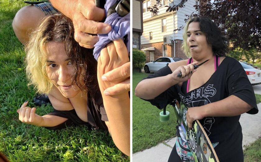 Police are looking for a female skater who used her board to bash a motorist over the head and menaced the woman with a knife in Queens on Aug. 29.