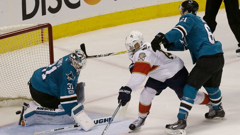 Florida's Aleksander Barkov scores past San Jose goalie Martin Jones on Feb. 15.