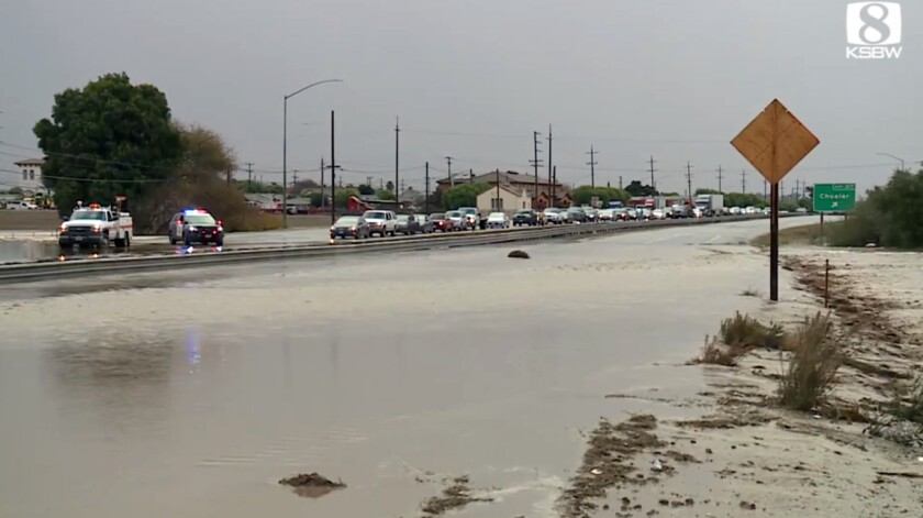 This Wednesday, Dec. 4, 2019 photo from video from KSBW-TV shows flooding on U.S.Highway 101 near the town of Chualar in Northern California's Monterey County. Several schools remain closed Thursday in Northern California town after heavy rain led to flooding on U.S. Highway 101 in Monterey County, officials said. (KSBW-TV via AP)