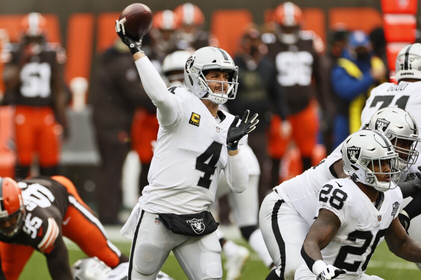 Las Vegas Raiders quarterback Derek Carr throws during the first quarter of an NFL football game.